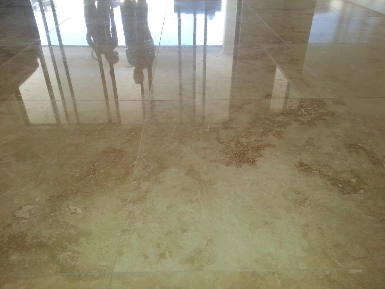 Travertine Stone Floor Tile Restoration-- - Polishing, Honing, Cleaning, Sealing